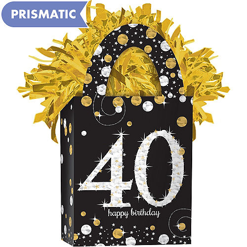 Prismatic 40th Birthday Balloon Weight