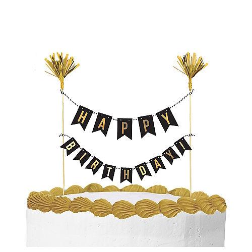 Gold Happy Birthday Banner Cake Topper