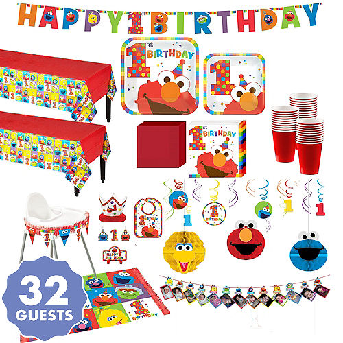1st Birthday Elmo Deluxe Party Kit For 32 Guests