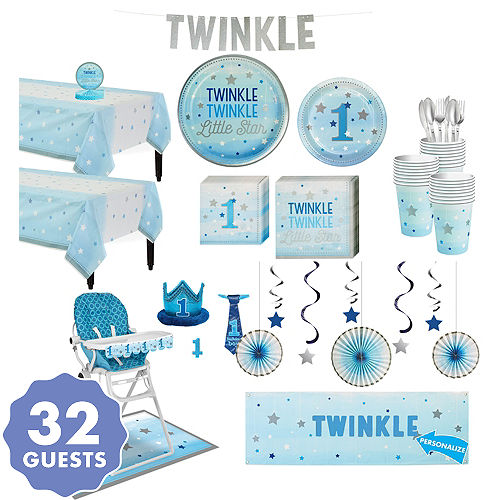 Blue Twinkle Little Star 1st Birthday Deluxe Party Kit For 32 Guests