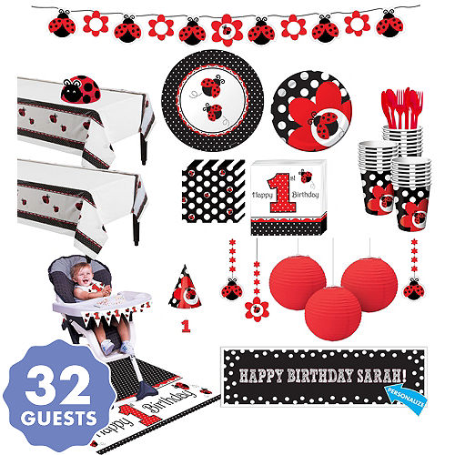 Fancy Ladybug 1st Birthday Deluxe Party Kit For 32 Guests
