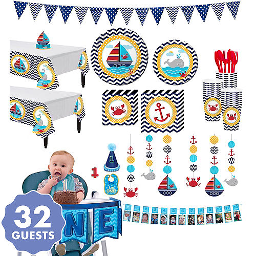 Ahoy Nautical 1st Birthday Deluxe Party Kit For 32 Guests
