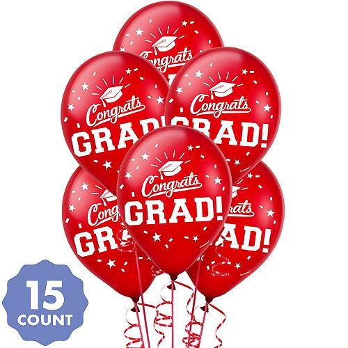 Red Congrats Grad Balloons 15ct