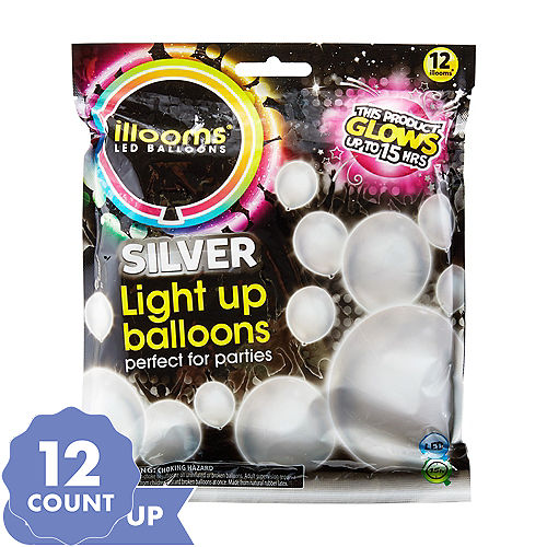 Illooms Light-Up Silver LED Balloons 12ct