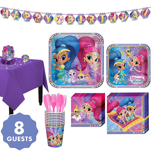 Shimmer And Shine Tableware Party Kit For 8 Guests