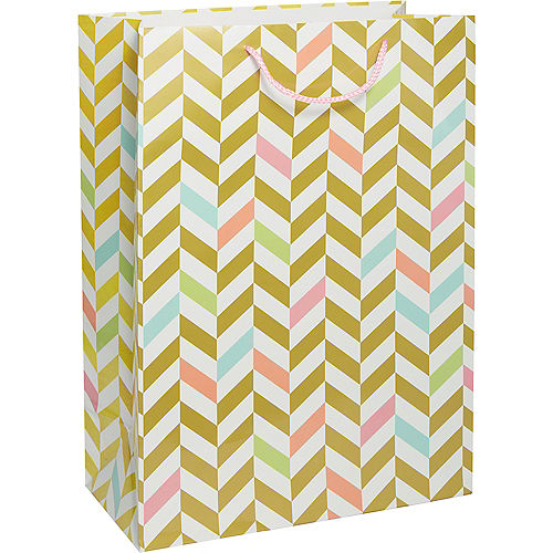 Pastel Gold Herringbone Gift Bag