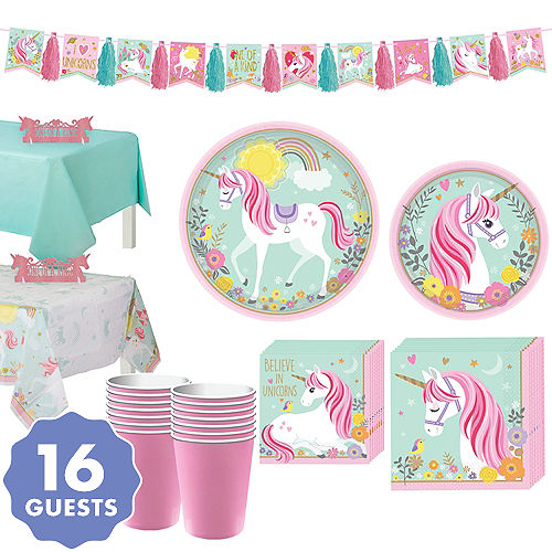 Magical Unicorn Tableware Party Kit For 16 Guests