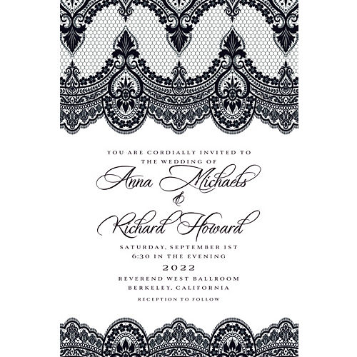 Custom wedding invitations banners party city custom black white lace wedding invitation filmwisefo