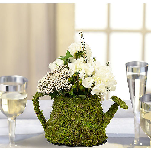Wedding centerpieces wedding table decorations party city canada moss watering can decoration junglespirit Choice Image