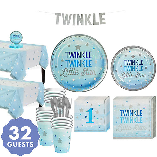 Blue Twinkle Little Star 1st Birthday Party Supplies