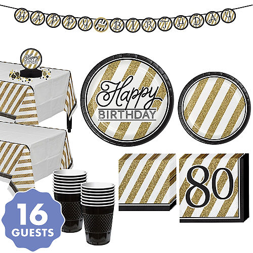 White Gold Striped 80th Birthday Party Kit For 16 Guests