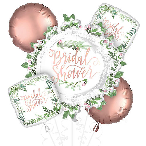 Floral Greenery Bridal Shower Balloon Bouquet 5pc