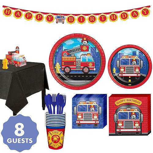 Fire Truck Basic Party Kit For 8 Guests