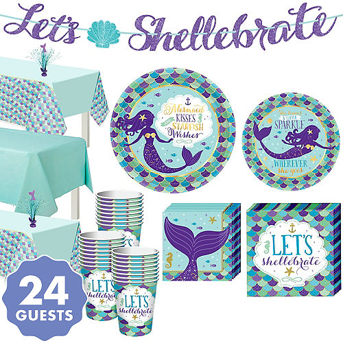 Wishful Mermaid Basic Party Kit For 24 Guests