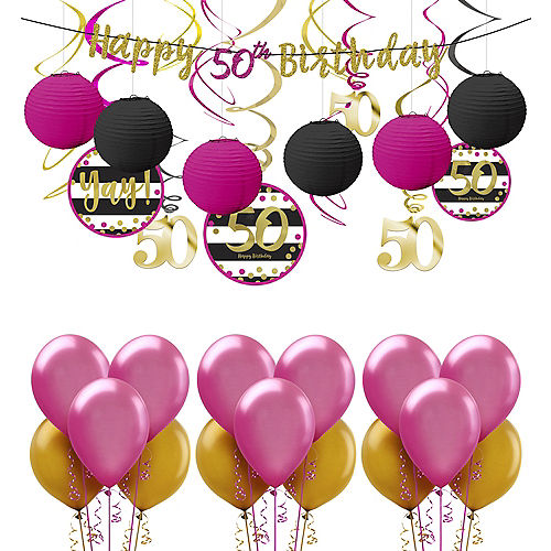 Pink Gold 50th Birthday Decorating Kit With Balloons