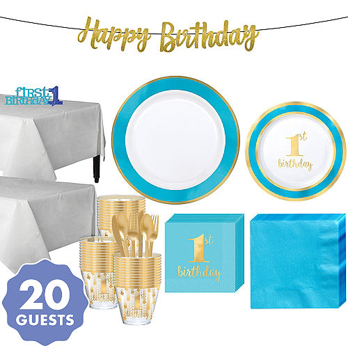 Blue Gold Premium 1st Birthday Party Kit For 20 Guests
