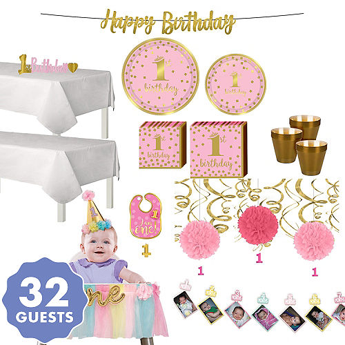 Pink Gold Confetti Premium 1st Birthday Deluxe Party Kit For 32 Guests