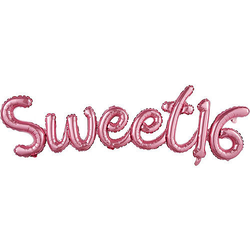 Air Filled Pink Sweet 16 Cursive Letter Balloon Banners 2ct