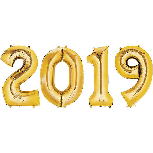 giant gold 2019 number balloons 4pc