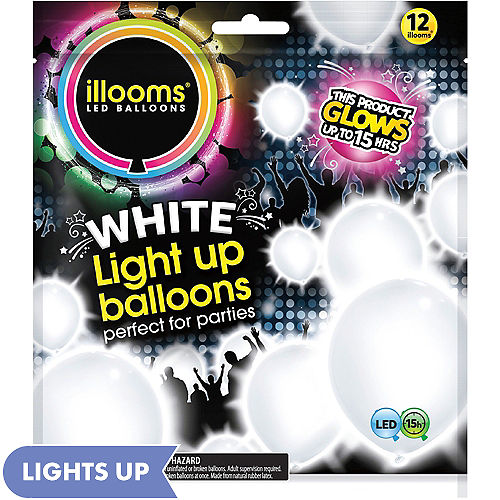 Illooms Light Up White LED Balloons 12ct