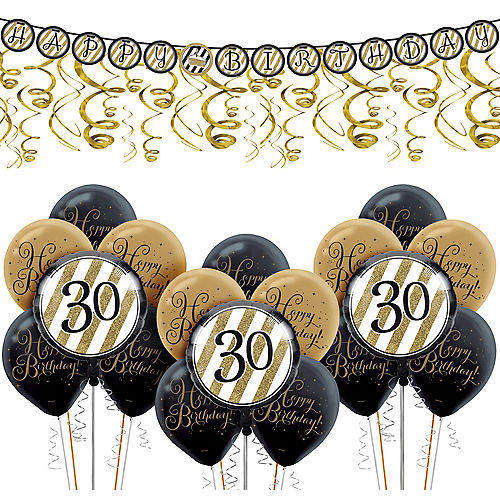 White Gold Striped 30th Birthday Decorating Kit With Balloons