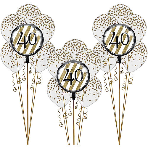 White Gold Striped 40th Birthday Balloon Kit
