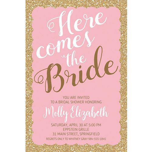 74693b9fed56 Custom Pink Here Comes the Bride Invitations