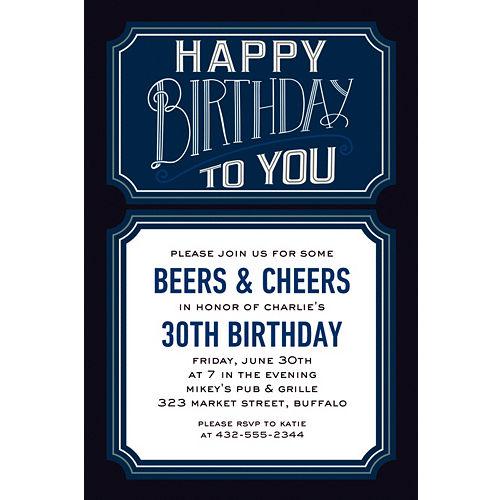 Custom Happy Birthday Man Invitations