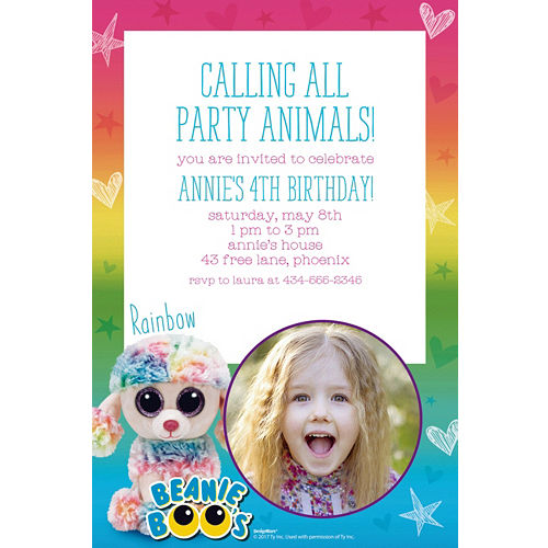 Custom Beanie Boos Photo Invitations