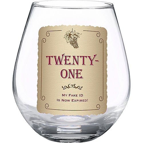 21st Birthday Stemless Wine Glass
