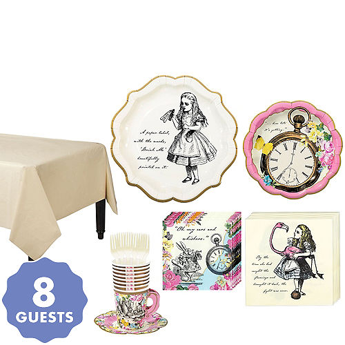 Alice In Wonderland Tableware Party Kit For 8 Guests