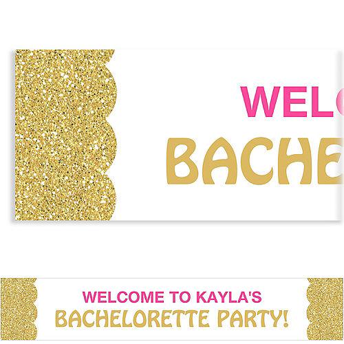 custom pink gold bachelorette banner