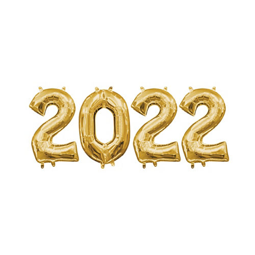 Air Filled Gold 2022 Number Balloon Kit