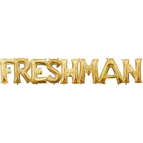 air filled gold freshman letter balloon kit