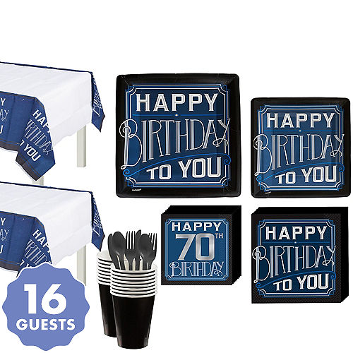 Vintage Happy Birthday 70th Party Kit For 16 Guests