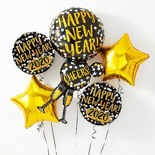 Champagne Glass Happy New Year Balloon Kit With Weight Clip