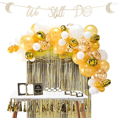 Gold 50th Wedding Anniversary Buffet Table Decorating Kit