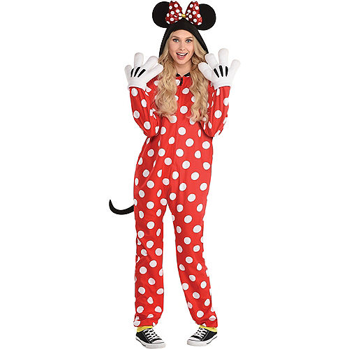 Adult Zipster Red Polka Dot Minnie Mouse One Piece Costume - Disney