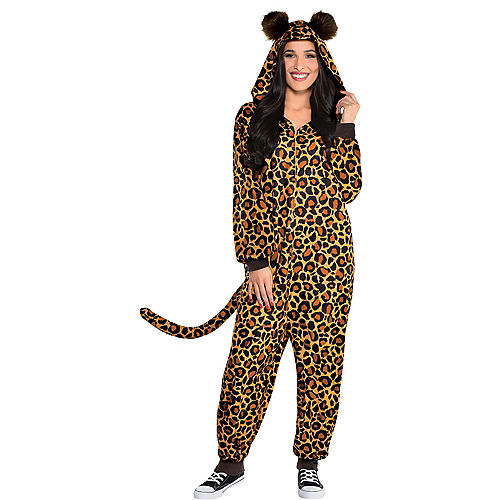 Adult Zipster Leopard Print One-Piece Costume