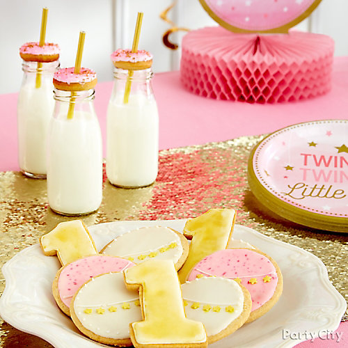 First Birthday Cookies and Milk Idea