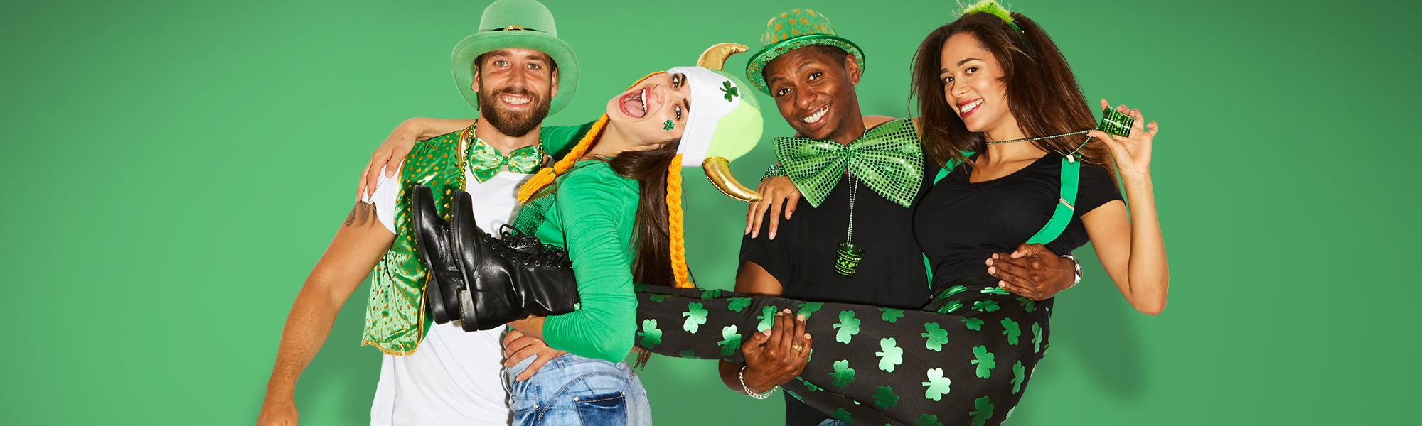 St Patricks Jacket Tie Irish Shamrock Halloween Adults Mens Fancy Dress Costume